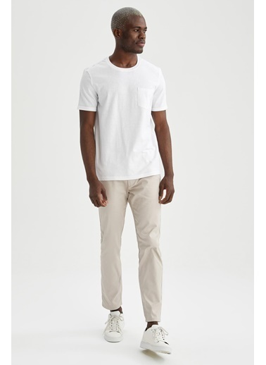 DeFacto Regular Fit Bisiklet Yaka Basic T-shirt Beyaz